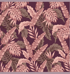 Abstract pink color leaves seamless wine vector