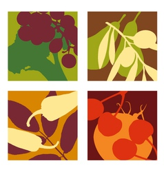 Abstract vegetable and fruit designs set 1 vector