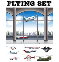 Airport scene with many airplanes vector