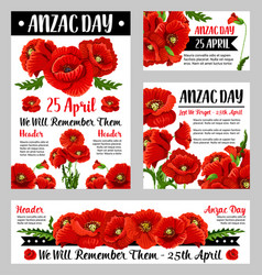 anzac day poppy flower for poster or card design vector image