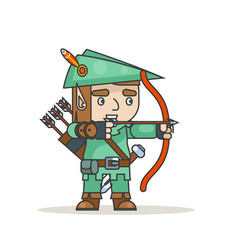 archer sharpshooter bow arrow elf fantasy medieval vector image