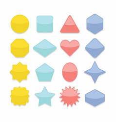basic colorful geometrical shape web buttons set vector image