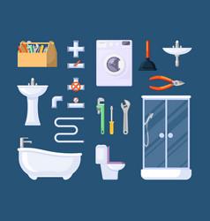 Bathroom plumbing tools set box with adjustable vector