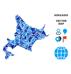 Blue triangle hokkaido island map vector