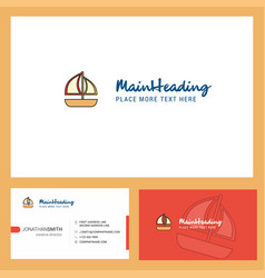 boat logo design with tagline front and back vector image