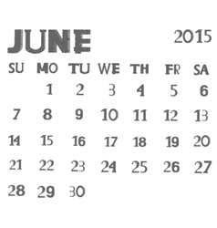 Calendar 2015 June vector image