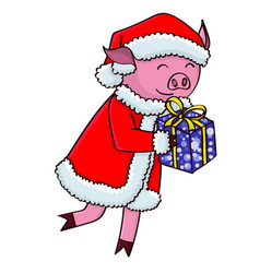 Cartoon pig in santa clothes with gifts vector