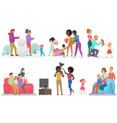 cartoon scenes family life set mother father vector image