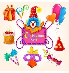 Celebration set colored vector image