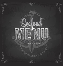 chalk drawing typography seafood menu design vector image