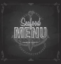 Chalk drawing typography seafood menu design vector