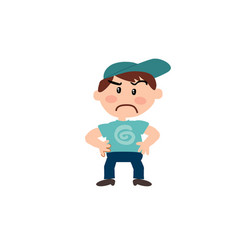 Character of a serious white boy with blue cap vector