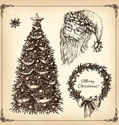 christmas hand drawn set vector image