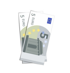 couple of simple five euro banknotes on white vector image