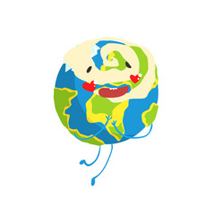 Cute cartoon earth planet character with red vector