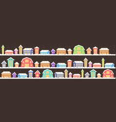 cute houses in winter season snowy town street vector image