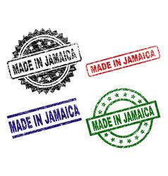 Damaged textured made in jamaica stamp seals vector