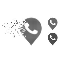 Disappearing pixel halftone phone receiver marker vector