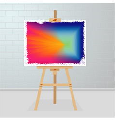 Easel with a painting on canvas art gallery room vector