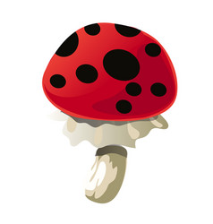 fantasy mushroom with black spots isolated on vector image
