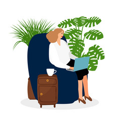 Female freelancer working in chair vector