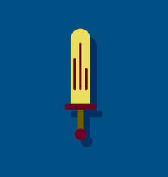 Flat icon design kids sword in sticker style vector