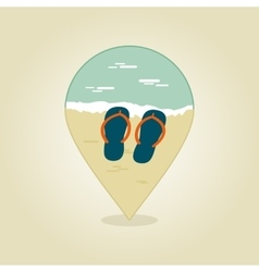 Flip flops pin map icon summer beach sun sea vector