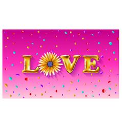 flower gold letter love balloons valentines day i vector image
