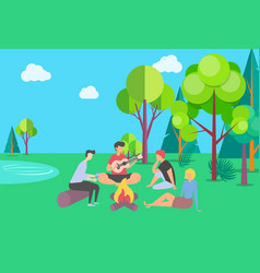 friends spending time together on summer vacation vector image