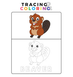 Funny beaver tracing and coloring book with vector