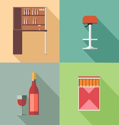 Furniture set with wine bottles and chair in outli vector