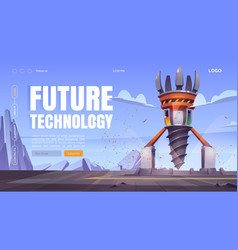 Future technology cartoon landing with drill rig vector