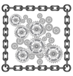 gears in chain frame vector image