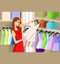 Girl buying clothes at a store vector