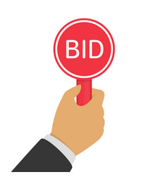 hand with paddle bid vector image