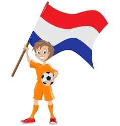 Happy soccer fan holds holland flag cartoon vector