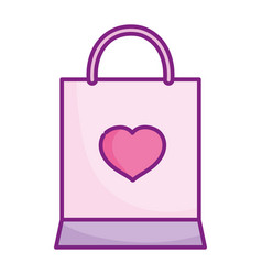 happy valentines day shopping bag heart love vector image