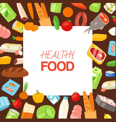 healthy food and diet concept banner with vector image