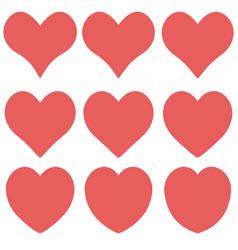 heart contour red flat cartoon icon set romantic vector image
