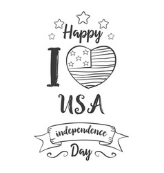 Independence day hand draw style card vector