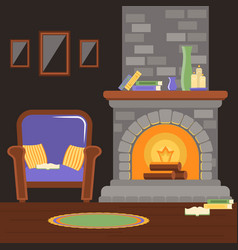 Interior living room with fireplace and armchair vector