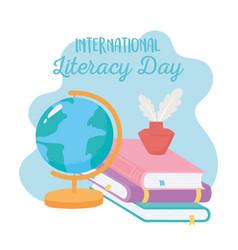 international literacy day school map books vector image