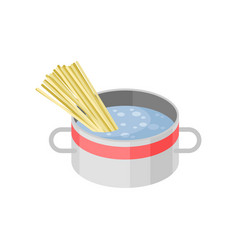 isometric icon of metal saucepan with vector image