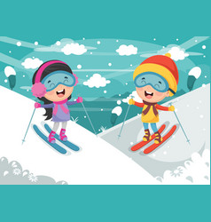Kids skiing vector