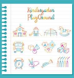 Kindergarten Line Drawing Toys and Playground Set vector