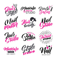 Logo beauty salon lettering set hair studio and vector