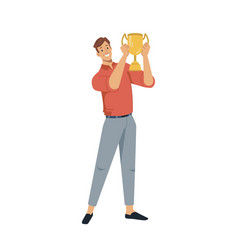 man holding golden cup award in hands isolated vector image