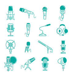 microphone musical radio studio records vector image