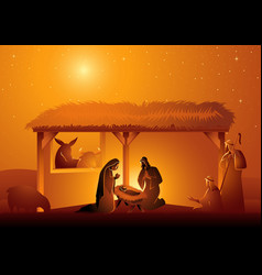 Nativity scene the holy family in stable vector