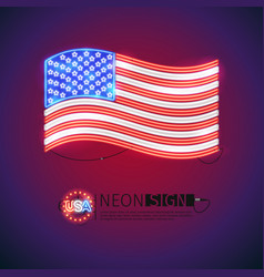 neon sign waving usa flag vector image